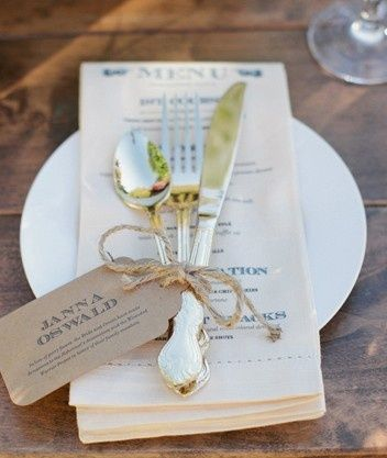 Name Place Card | tied to cutlery