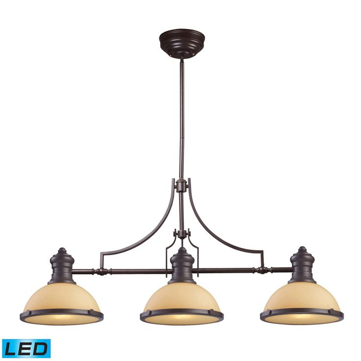 elk chadwick 3light led billiard in oiled bronze and amber glass