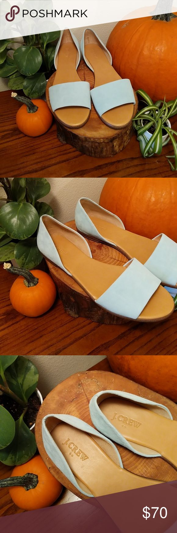 J. Crew Like New Suede Light Blue Open Toe Flats Gently used, only flaws are on the bottom where they've been walked on. Leather upper, man made lining, man made sole. J. Crew Shoes Flats & Loafers