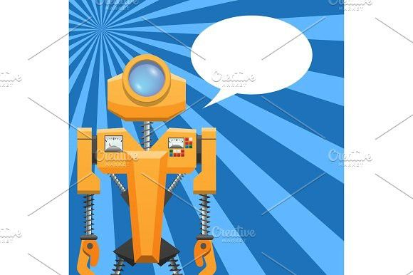 Orange Robot with Blank Text Cloud Illustration. Human Icons