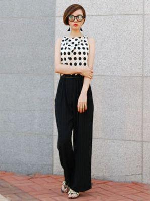 ドット柄×ストライプパンツをコーデするタッキー女子。個性派スタイルのコーデ♪スタイル・ファッションの参考にしたいアイデアまとめ♪
