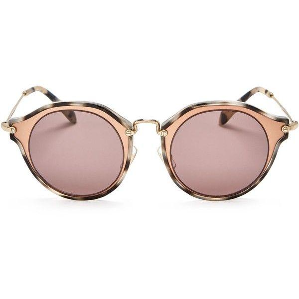 Miu Miu Round Sunglasses, 53mm ($565) ❤ liked on Polyvore featuring accessories, eyewear, sunglasses, round frame sunglasses, miu miu, round sunglasses, round frame glasses and miu miu sunglasses