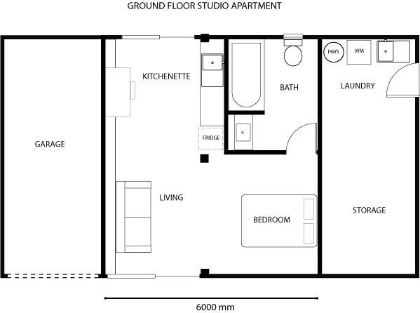 Retrofitting the suburbs - Garage studio apartment floor plan