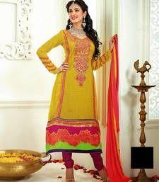 Buy yellow embroidered georgette semi-stitched salwar bollywood-salwar-kameez-online online