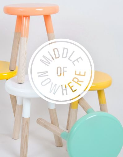Cute pastel paint dipped wood stools by Middle of Nowhere  identity by Mildred  Duck