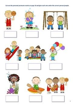 """Pronouns are 'sticky' words often used in error even in Elementary School. How often have you hear students say """"her is going home now"""" or """"him has wet hair""""? Is it he or him, she or her, they, their or them??? As a speech pathologist, I have needed some very quick, snappy activities that provide hands on resources to help these students learn which pronoun to use and when.This program is made up of tasks that require students to draw connecting lines to correct answers and cut and paste…"""