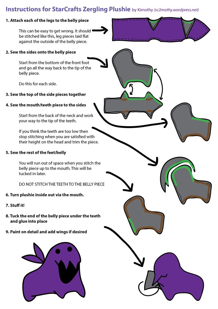 StarCrafts-Style Zergling Plushie: Make your own!