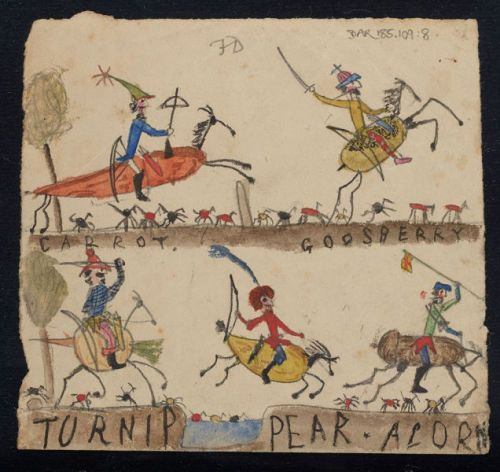 On blank pages of Charles Darwins manuscripts for The Origin of Species one or more of his children drew a number of their own creations  in this case a series of people riding plant-animal hybrids!