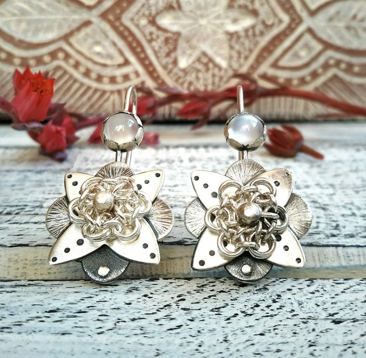 Adjustable sterling silver chainmaille flower earrings with Moonstone cabochons