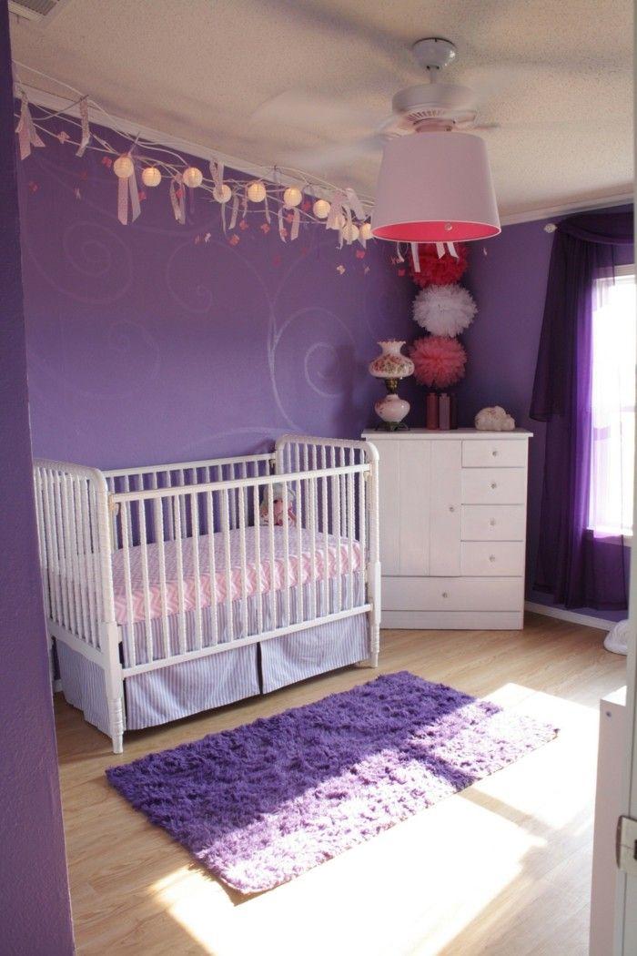 Die Farbe Lila Kinderzimmer Babyzimmer Weiße Möbelstücke Lila Teppich