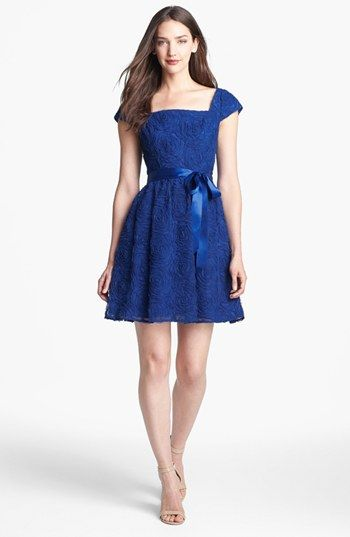 Adrianna Papell Rosette Textured Fit & Flare Dress | Nordstrom