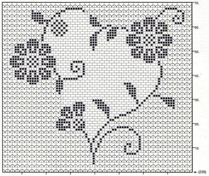 Daisy heart filet crochet chart