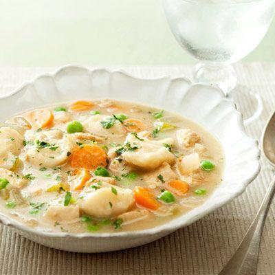 Healthier Chicken and Dumplings - low fat, low sodium, 385 calories per serving