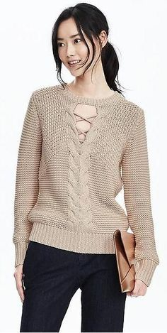 Banana Republic - Lace-Front Cable Sweater