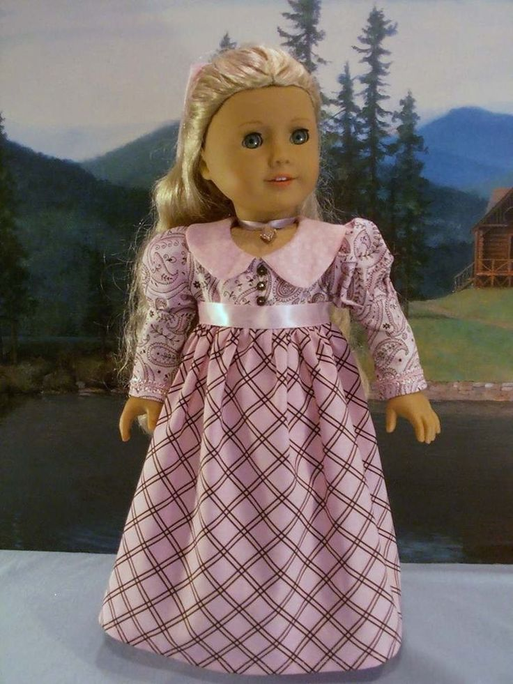 1812 Pink Paisley Day Dress fits American Girl Caroline