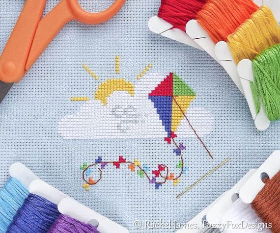 Cute Rainbow Kite Easy Beginners Cross Stitch by FuzzyFoxDesigns