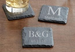 Groupon - Personalized Square Slate Coasters from Monogram Online (Set of 2 or 4). Groupon deal price: $5