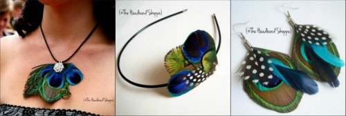 Giveaway from The Headband Shoppe on Home Storage Solutions 101: Aren't these peacock feather accessories and jewelry gorgeous?