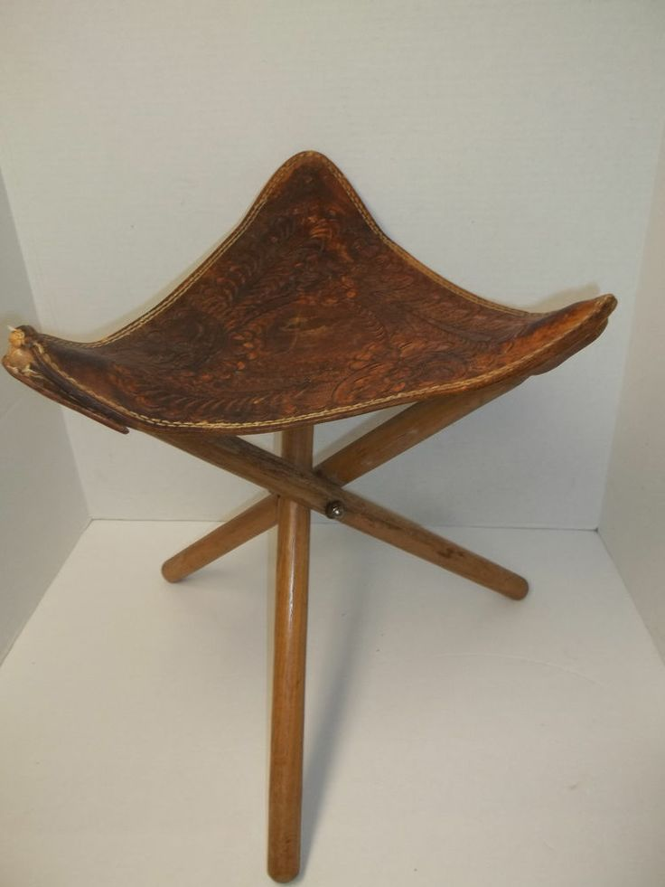 Vintage Tripod Folding Chair With Hand Tooled Leather Seat