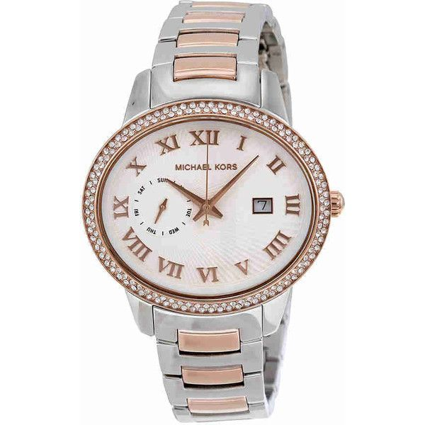Michael Kors Whitley Silver Dial Two-tone Ladies Watch ($174) ❤ liked on Polyvore featuring jewelry, watches, rose watches, water resistant watches, roman numeral watches, stainless steel wrist watch and rose jewelry