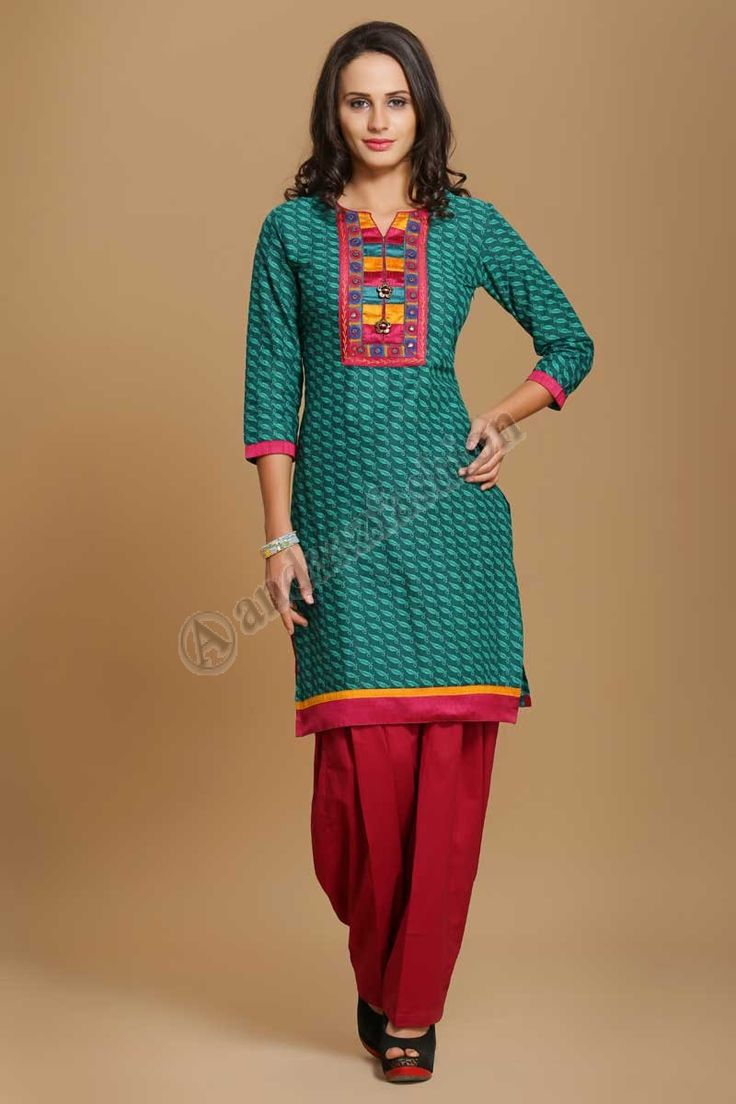 Resham embroiderey indien coton Kurtis Design No. 4013 Prix- 17,60 € Coton doux imprime kurti avec Resham embroiderey. @http://www.andaazfashion.fr/womens/kurti-tunic/indian-cotton-kurtis-online-shopping.html