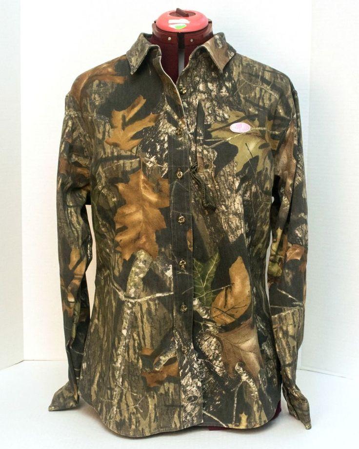 Mossy Oak Women's Camo Shirt Size Large Long Sleeve Button Front Hunting #MossyOak #ButtonFront