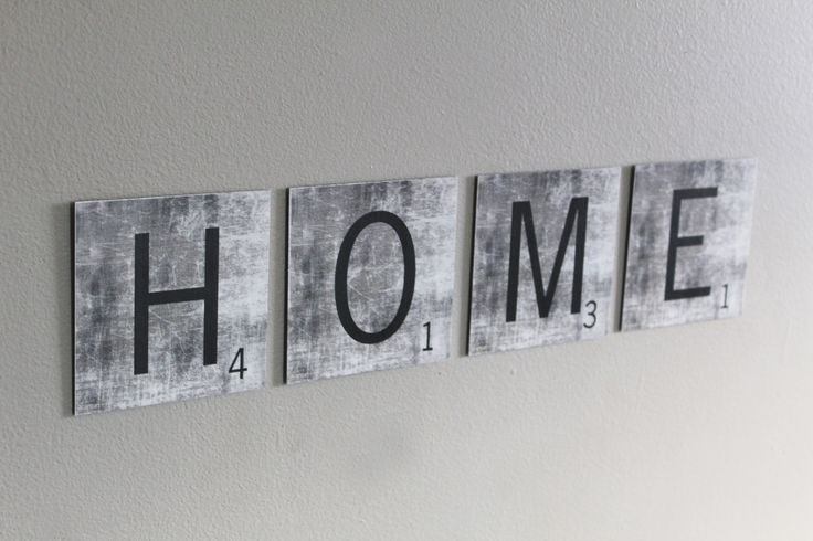 """HOME"" Metal Scrabble Tile Set"