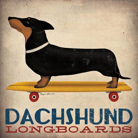 Dachshund Longboards Posters par Ryan Fowler sur AllPosters.fr
