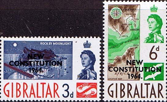 Gibraltar 1964 New Costitution Set Fine Mint SG 178 9 Scott 165 5 Other British Commonwealth Stamps Here