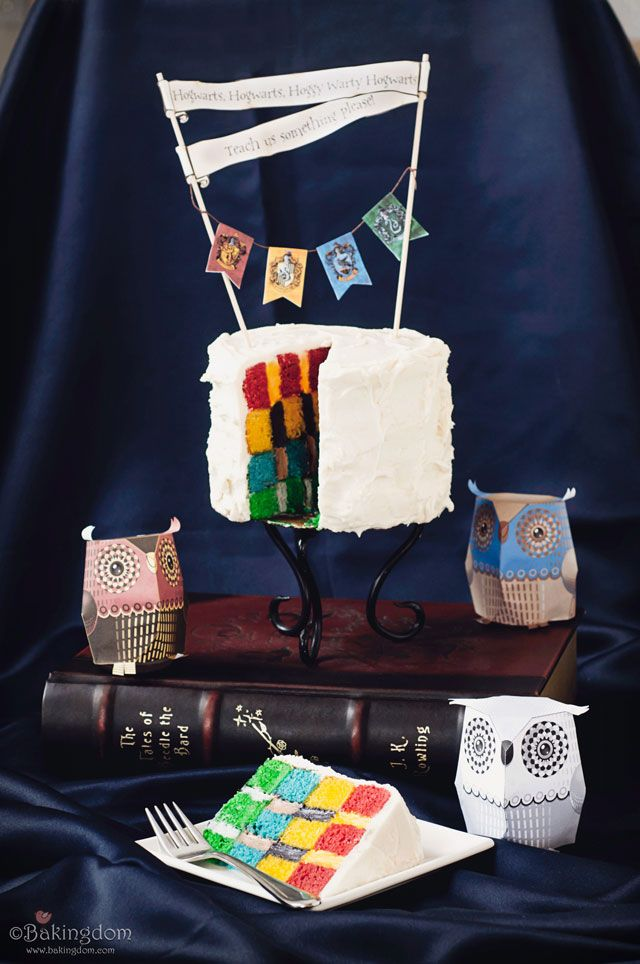 Harry Potter cake. Checkered colors of each house inside with hanging banners. Love the simplicity if the outside.