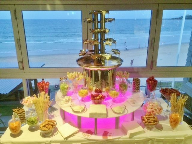 This delicious chocolate fountain was very popular at Mel and Craig's wedding!