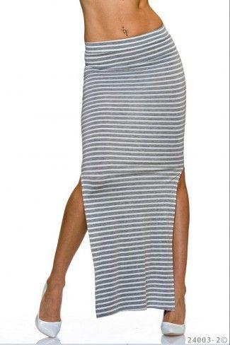 Ριγέ μάξι φούστα - Άσπρο Γκρι