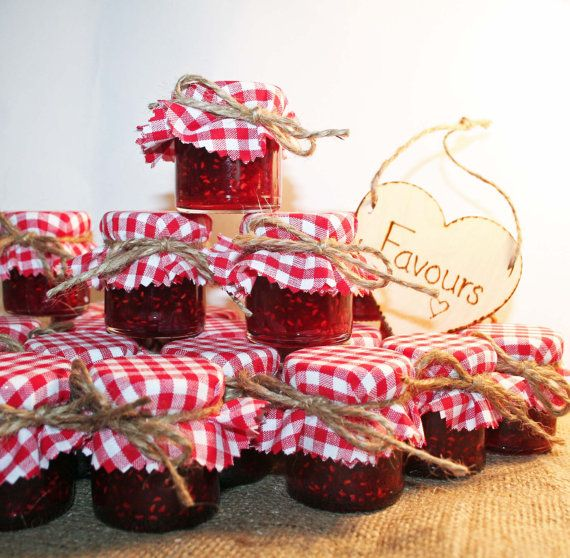 DIY Jam jar Wedding Favours with Red Gingham by Melysweddings