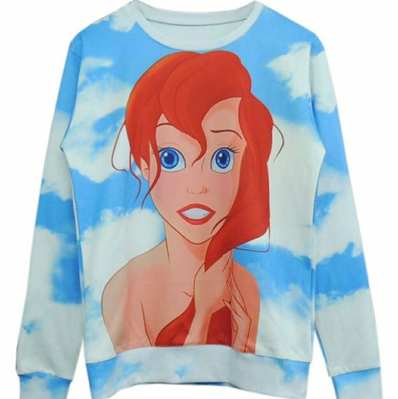 Sale! Little Mermaid Crewneck Sweater Sale! Little Mermaid Crewneck Sweater  My sister will model upon request!  Unisex medium/large. New. Ships in the morning! Sweaters Crew & Scoop Necks
