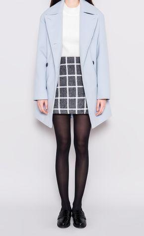 Korean fashion - white blouse, grid pencil skirt, blue trench coat and leggings