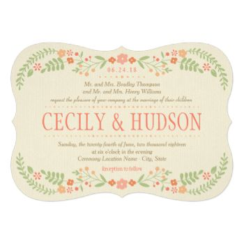 Rustic chic wedding invitations feature a symmetrical floral frame of pretty peach, blush pink, coral, and nectarine orange flowers and soft green botanical leaves with hand-drawn look that frame the design, and background with a subtle and elegant woven textured appearance. #wedding #wedding #collections #country #rustic #floral #flowers #leaves #botanical #vintage #woven #spring #wreath #blooms