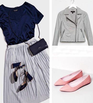 Розовая блузка, серый пиджак, синие брюки
