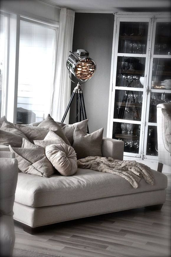 Comfortable modern sofa with super soft pillows