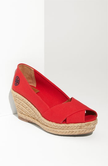 Dear Tory Burch Red Criss Cross Espadrille Wedge, Why must you cost $195?  I just can't justify spending that much money on you.  I do love you though.