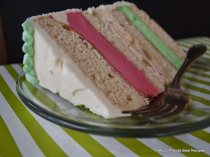 White Chocolate Ribbon Ice Cream Cake | DESSERTS | Pinterest