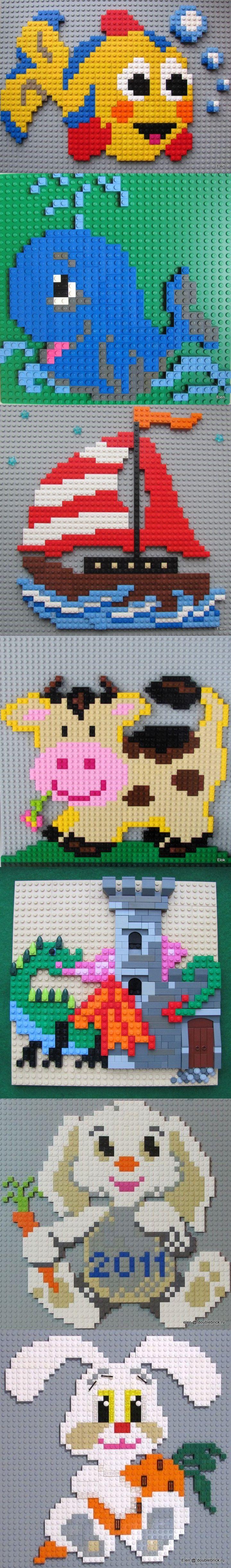 Cute LEGO mosaics! (by Elena) #LEGO #mosaic