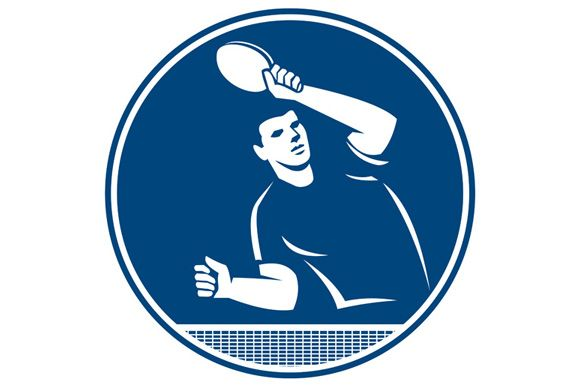 Icon illustration of a table tennis player with racket serving returning serve viewed from side front set inside circle on isolated background done in retro style.The zipped file includes