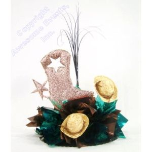 Cowboy Boot Centerpiece. Choose your colors for this DIY Kit that features a Cowboy Boot and Star Cut Out with mini hat accents.