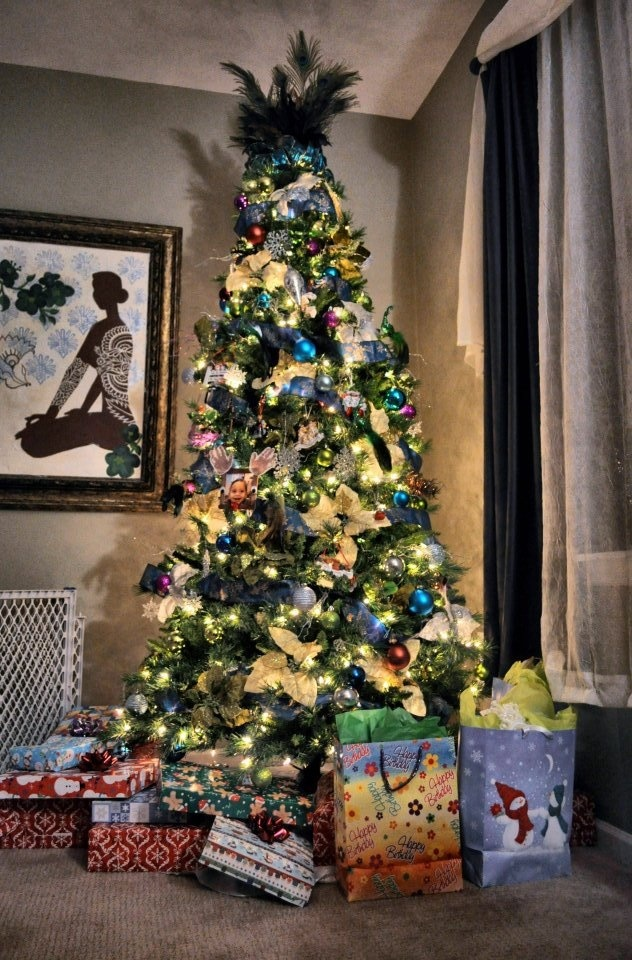 Peacock themed Christmas tree Beautiful Xmas Trees Pinterest