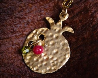 Pomegranate Necklace -Vermeil - Hammered vermeil with Ruby