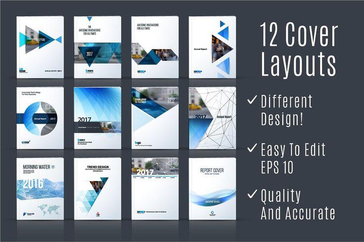 12 Cover Design Templates in Vector by DiamondGraphics on @creativemarket
