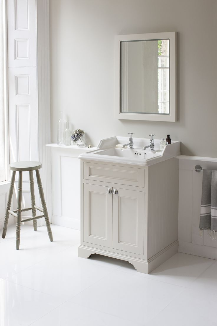 Classic style and sophisticated British elegant with the Sand Freestanding 65 Vanity Unit with doors from Burlington Bathrooms http://www.burlingtonbathrooms.com/Products/Category?cat=17326&name=Sand