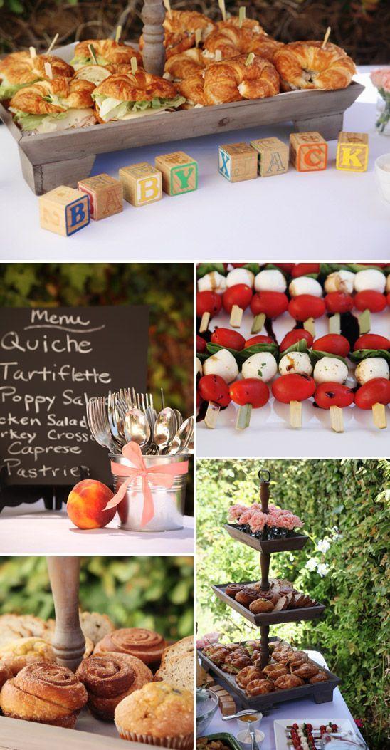 menu idea: chicken sandwiches, caprese skewers, cupcakes, lemon water