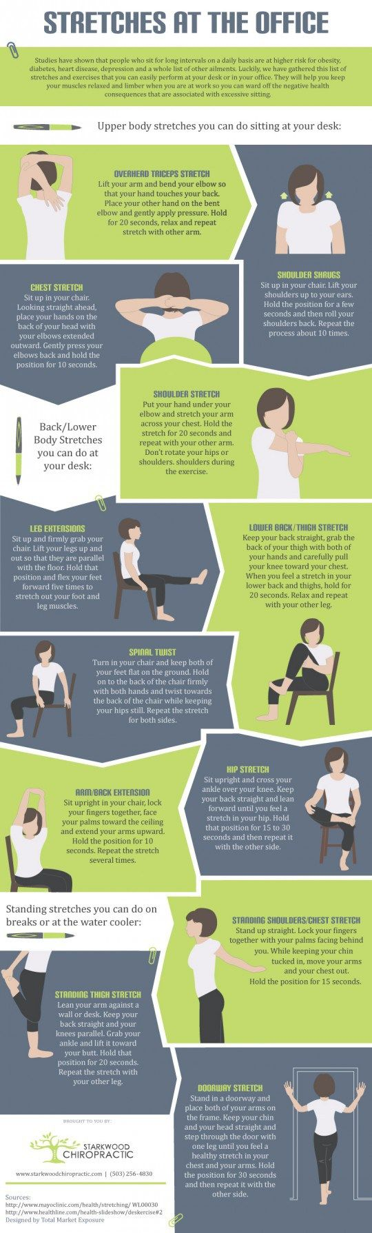 Infographic: 12 Stretch Exercises You Can Do at Your Desk