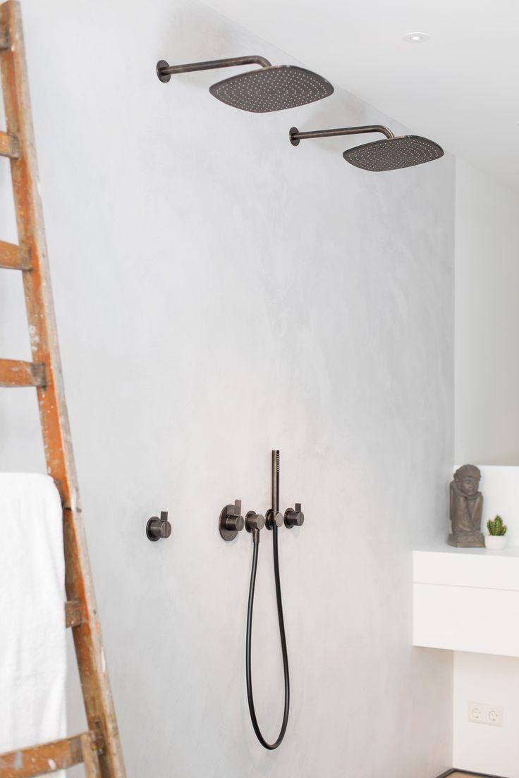 Piet Boon rainshower set bycocoon.com | Piet Boon® by COCOON design bathroomtaps | inox stainless steel in Gunmetal Black finishing | modern bathroom design | black and white | Dutch Designer Brand COCOON | Amsterdam showroom